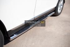 Toyota Highlander 2010 пороги труба d 76 с накладками (вариант 3) THT-0007363